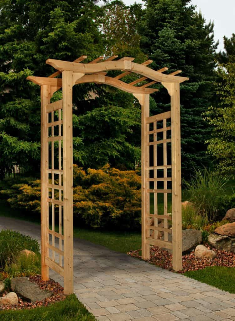 13 garden arbor ideas to complete your garden aesthetic for Timber garden arch designs