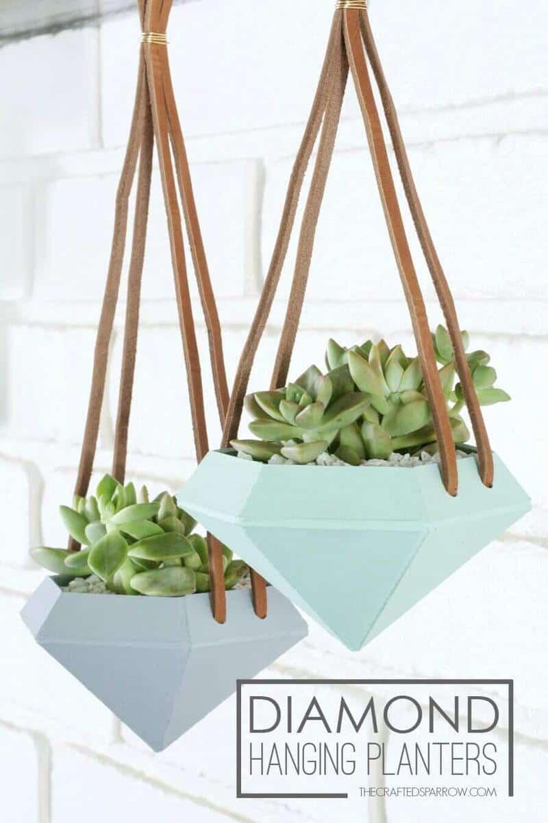 Ceramic Daimond Shaped Hanging Planters ideas
