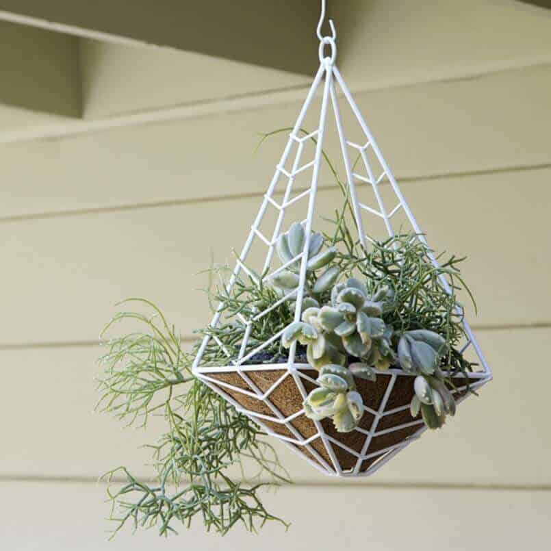 Chevron Patterned Metal hanging Planter ideas