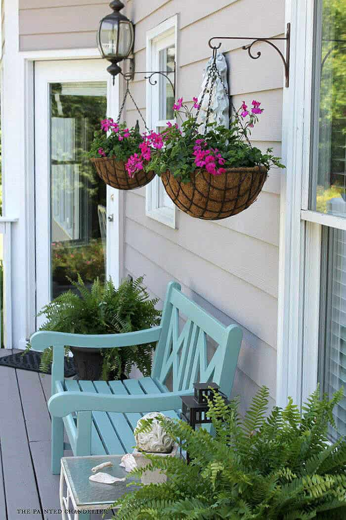 Classic Metal Hanging Planter Baskets with Petunias