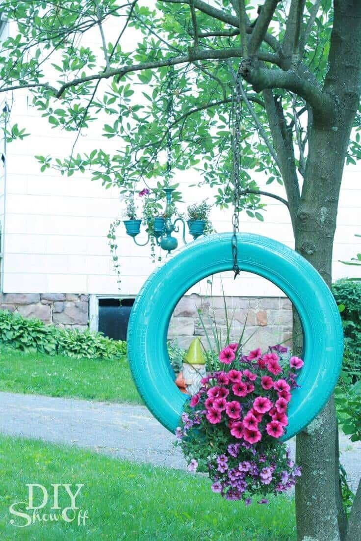 Creative Tire Swing Hanging Planter ideas