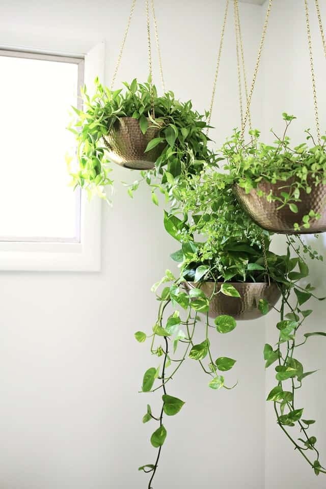 DIY Hanging Planters Out of Metal Bowls ideas