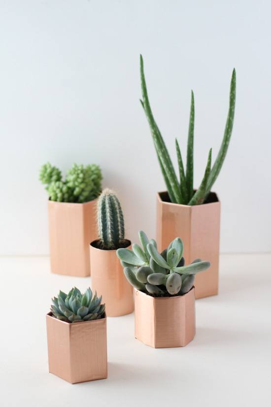 Faux Metal Hexagon diy succulent Planters