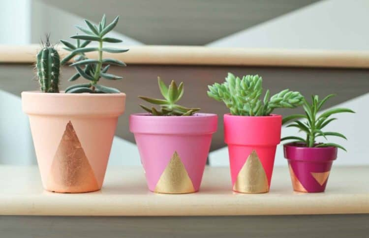 Gold Leaf Pots diy succulent planter