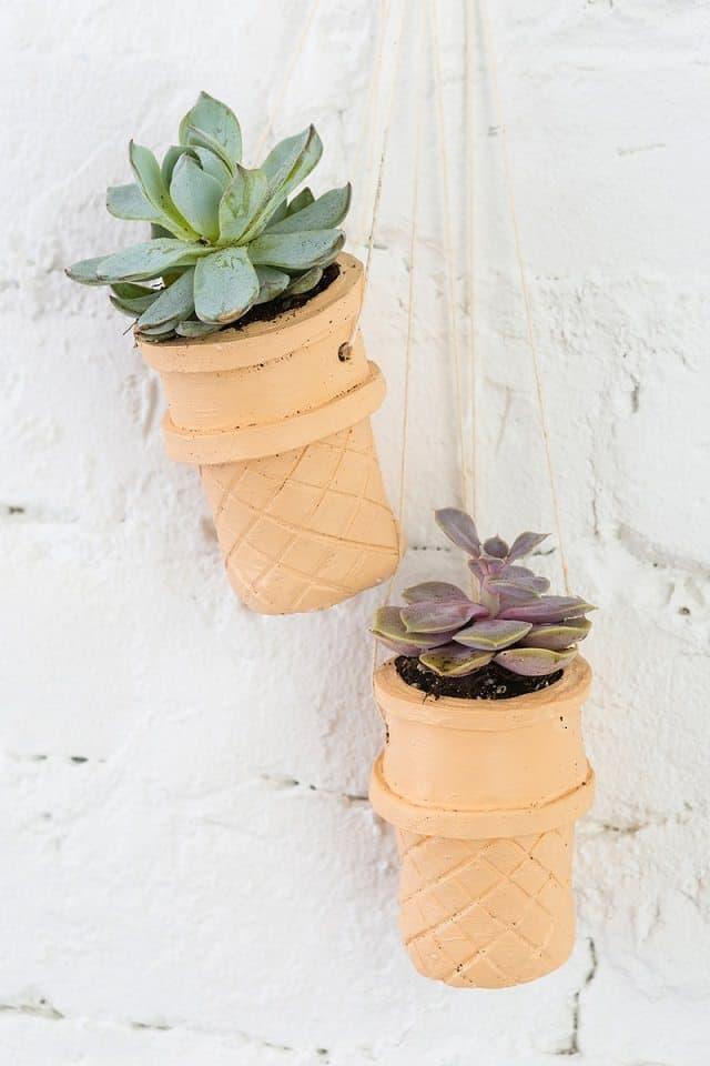 Ice Cream Cone DIY Hanging Planter ideas