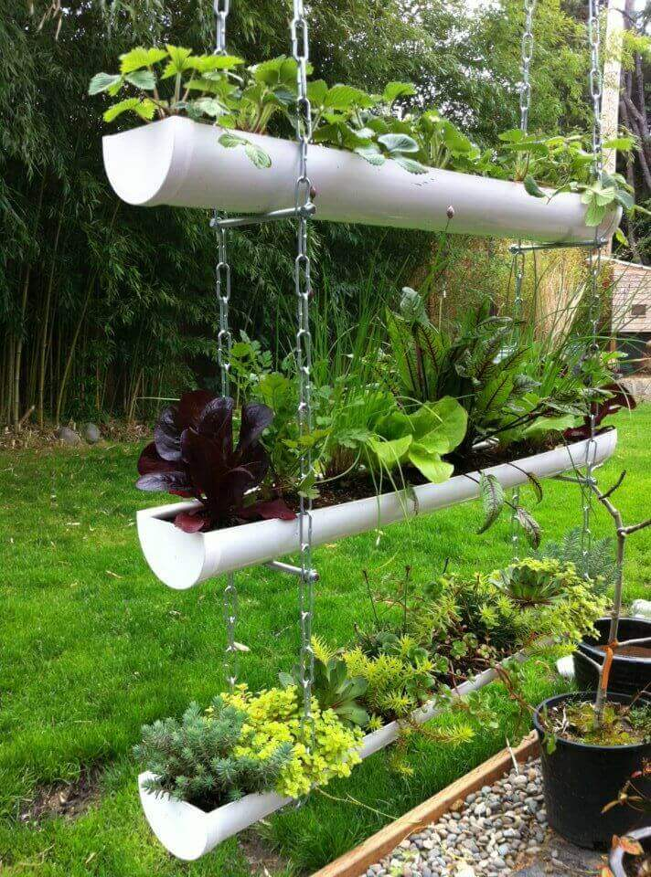 Inexpensive PVC Pipe Hanging Vegetable Garden ideas