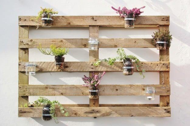 Jam Jar Pallet Planter