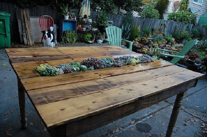 Pallet Planter Table with Herb Garden in Center