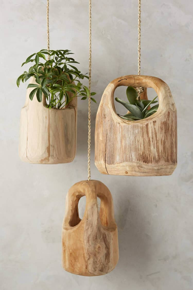Rustic Carved Wooden Hanging Planters ideas