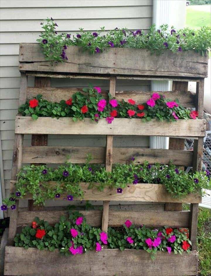 Rustic Pallet Planter Vertical Flower Garden