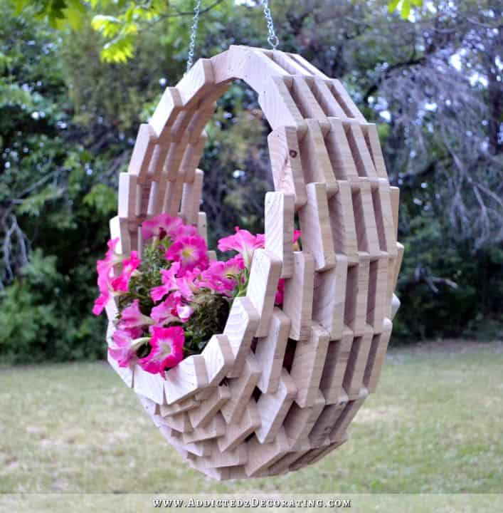 Stacked Wood Slice Hanging Planter ideas