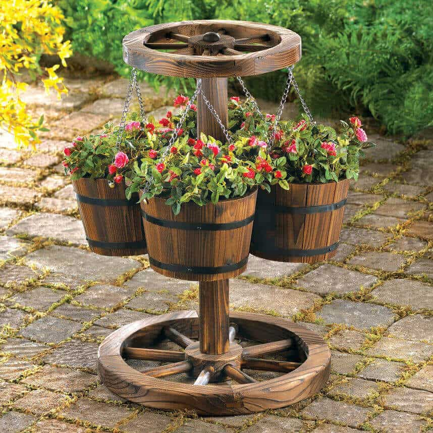 Western Wagon Wheel Hanging Planter Stand