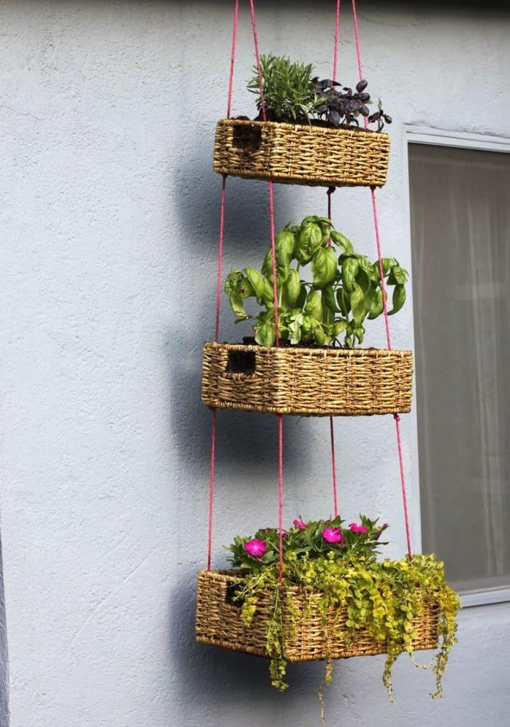 Wicker Basket Hanging Planters ideas