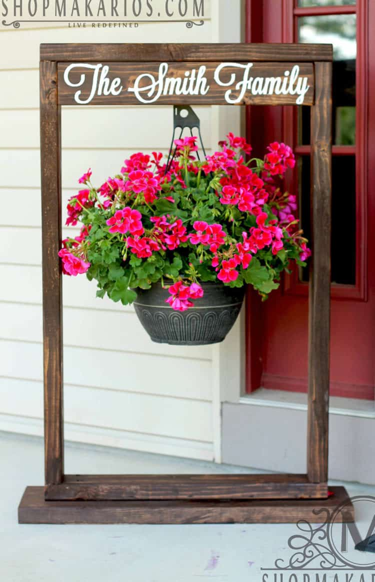 Wooden Entryway Sign and Hanging Flower Pot ideas
